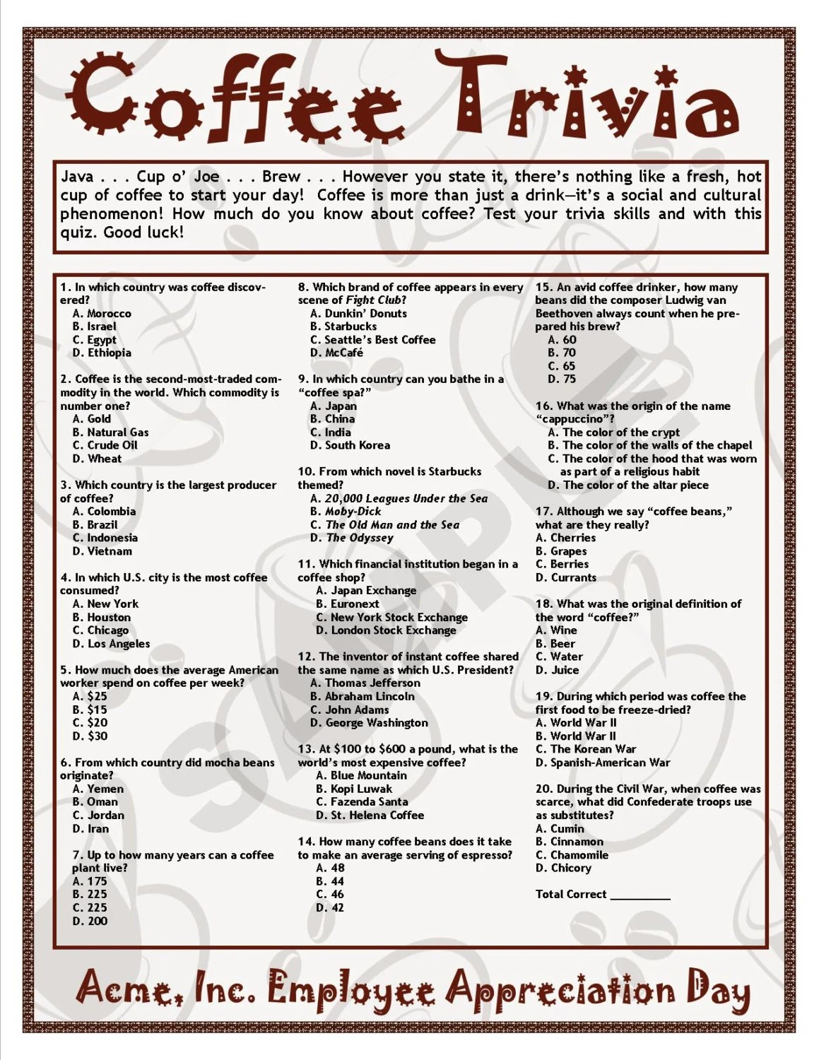 Coffee Trivia Printable Game Coffee Theme Birthdays Etsy