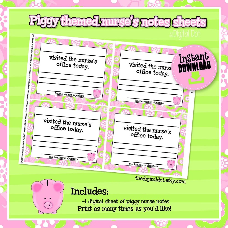 Piggy School Nurse Notes Nurse Parent Notes School Nurse Etsy