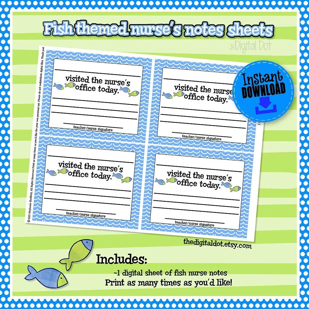Fish School Nurse Notes Nurse Parent Notes School Nurse Etsy