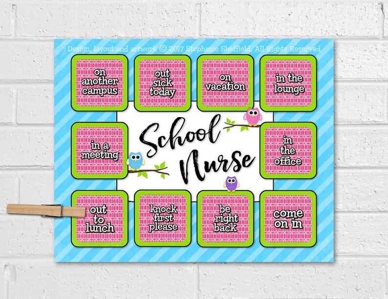 School Nurse Locator Door Sign School Nurse Print School Etsy
