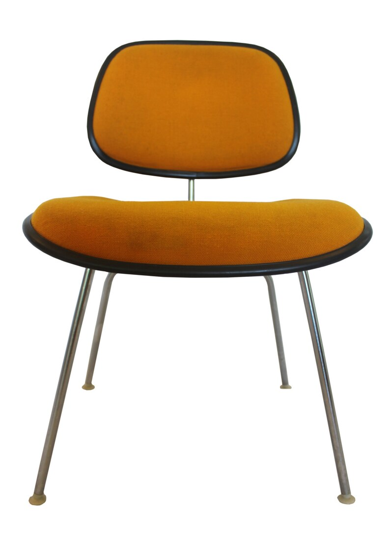 Charles Eames Stuhl Original Original Herman Miller Dcm Chair By Charles Eames Sunflower Yellow Orange Fabric Charcoal Color Rubber Edging Charcoal Fiberglass Shell