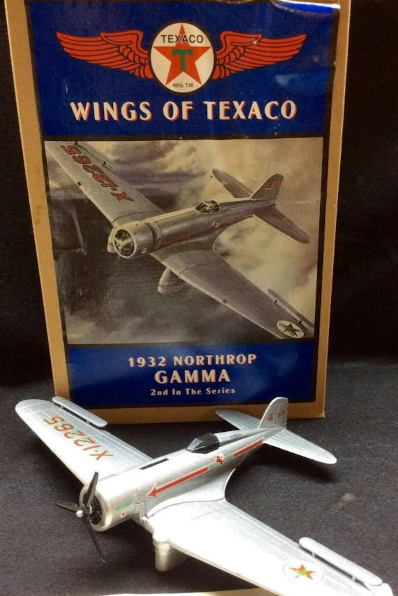 Gamma Close In Boiler Wings Of Texaco Authentic Scaled Replica 1932 Northrop Gama Airplane Circa 1994 New In Box Die Cast Metal Coin Bank