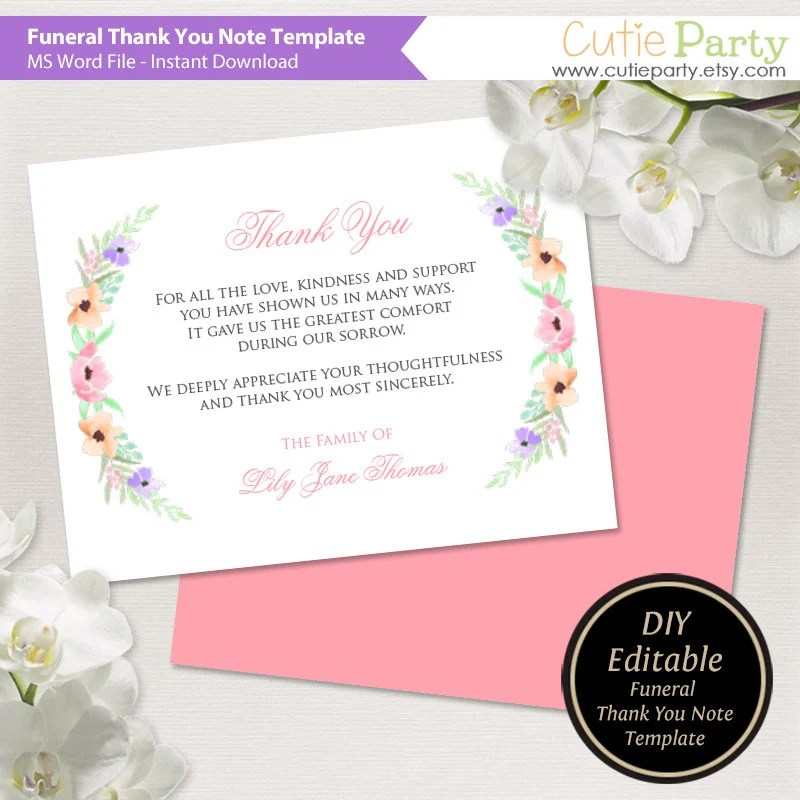 Funeral Thank You Card Printable Funeral Thank You Note Etsy