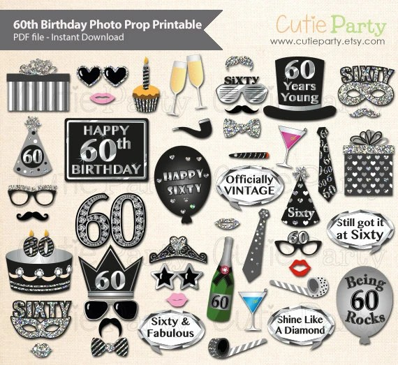 Sixtieth Birthday Party Photo Booth Prop 60th Birthday Party Etsy