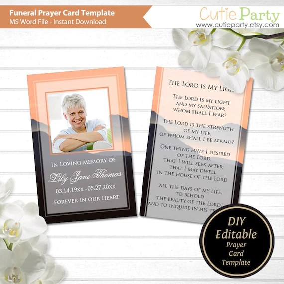 Funeral Prayer Card Printable Funeral Card Sunset Funeral Etsy
