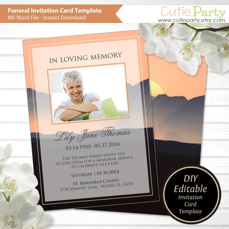 Funeral Announcement Template Printable Funeral Invitation Etsy