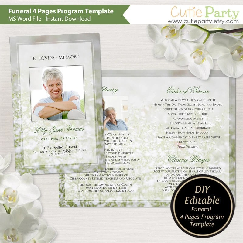 Funeral Program Template Printable Funeral Template Gray Etsy