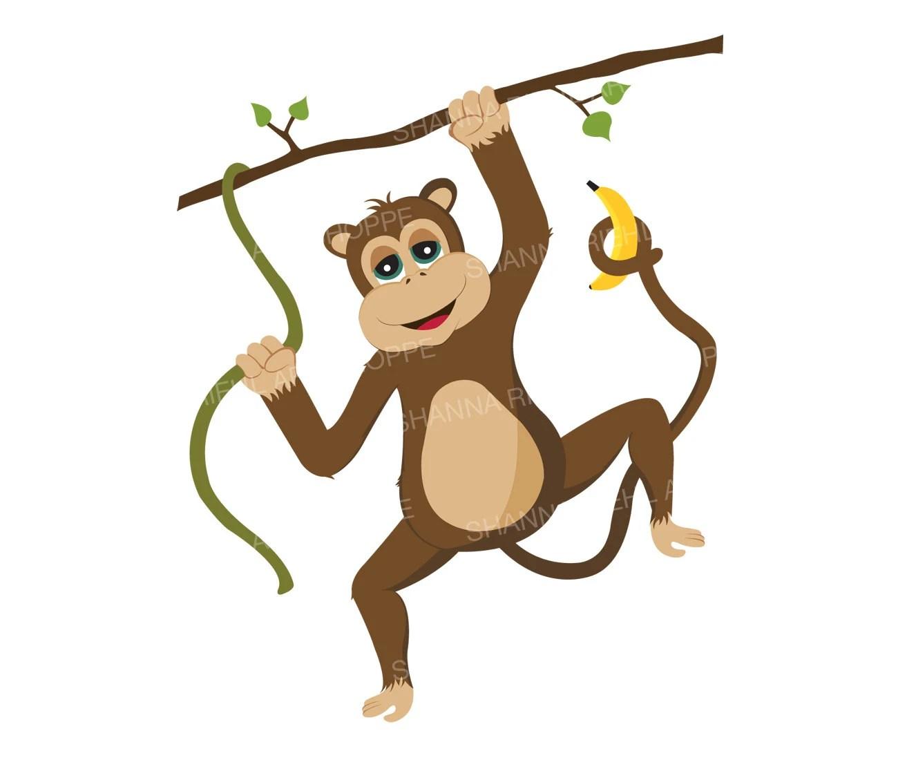 Monkey Clipart Safari Animals Printable Art Commercial Use Etsy