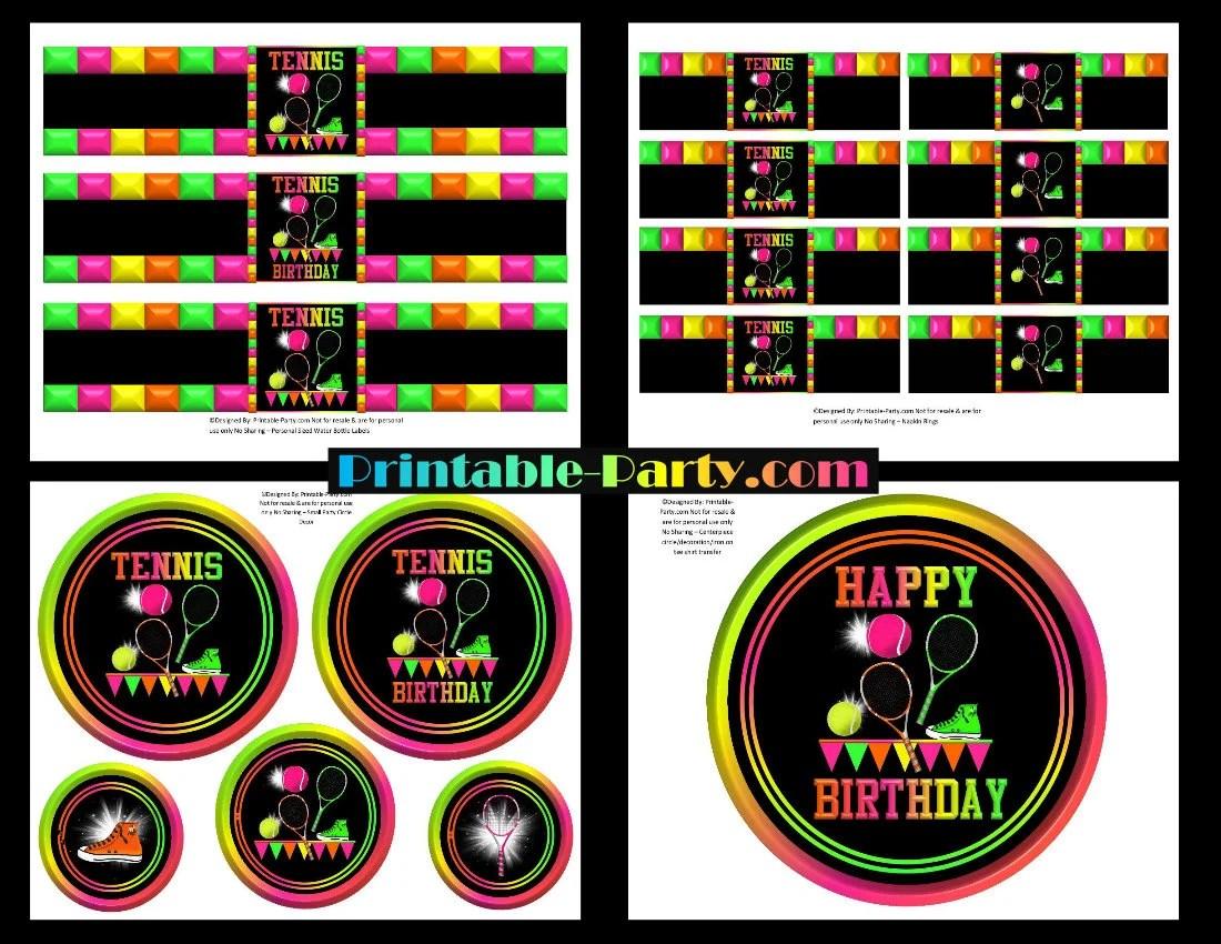 Printable Tennis Sports Theme Girl Birthday Party Supplies DIY Etsy