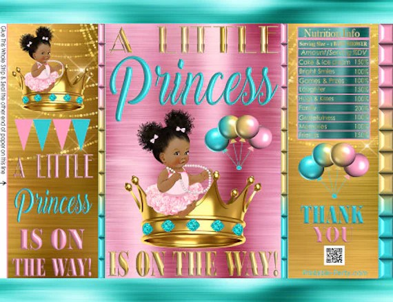 Printable Potato Chip Bags Pink Teal Gold Crown Afro