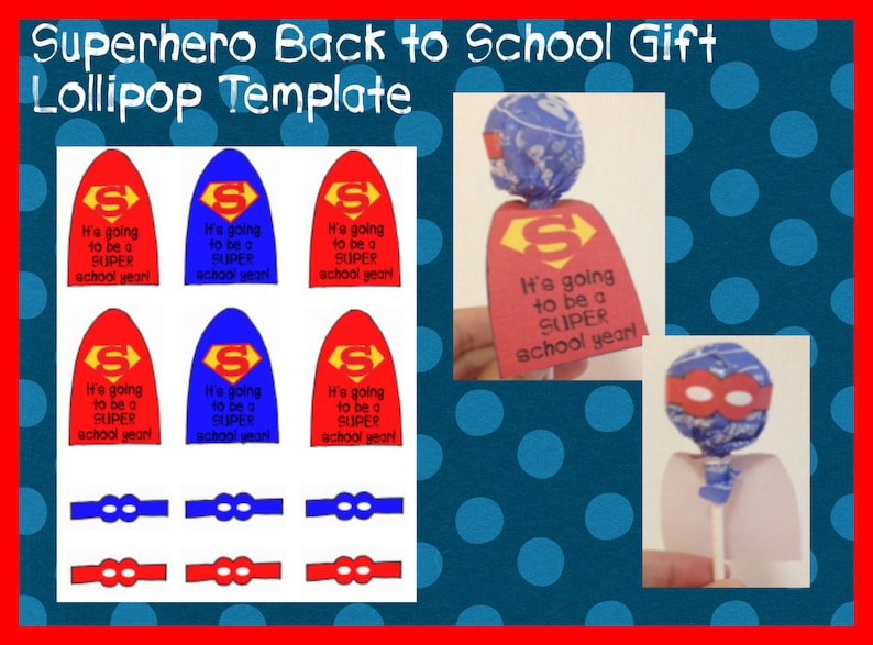 Superhero Lollipop Printable Template Back to school student Etsy
