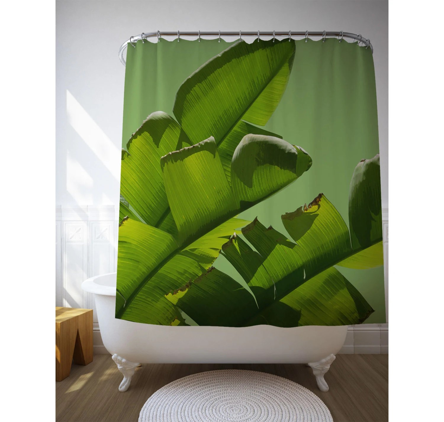 Banana Leaf Shower Curtain Banana Leaf Curtain Shower Curtain Tropical Shower Art Bathroom Decor Green Decor Bath Gifts Home Gift