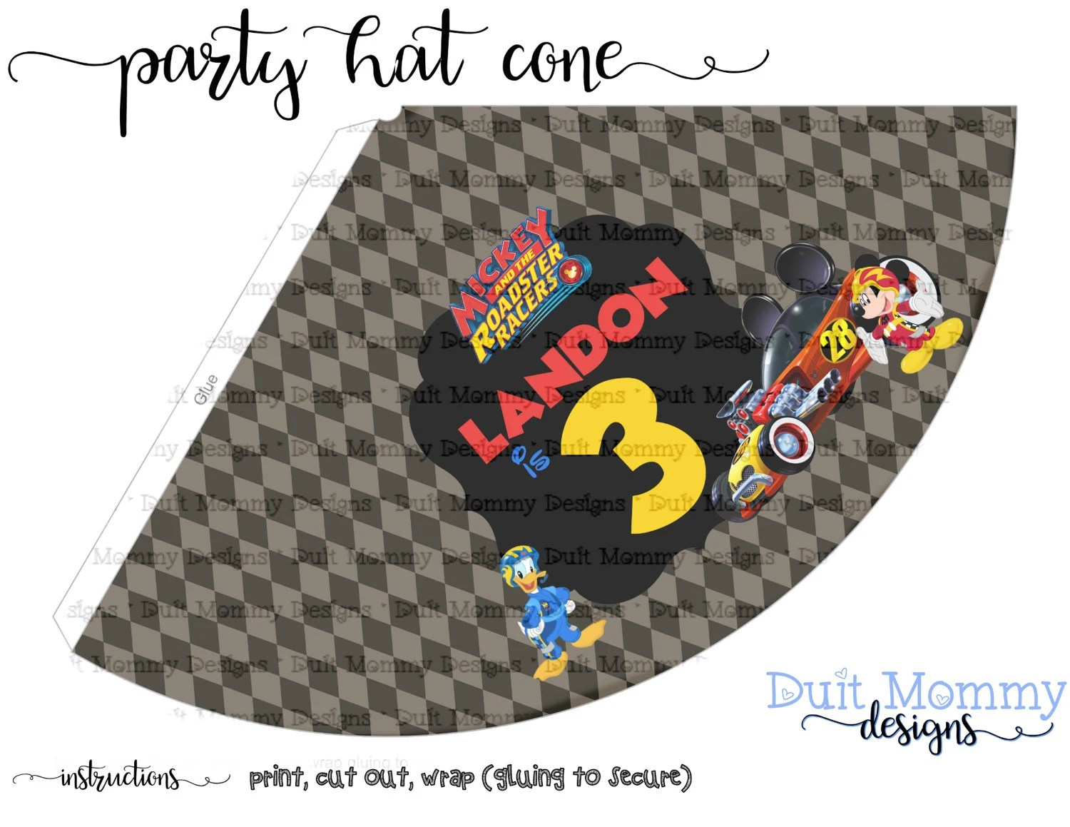 Party Hat Cone Popcorn Cone Mickey Roadster Racers Etsy