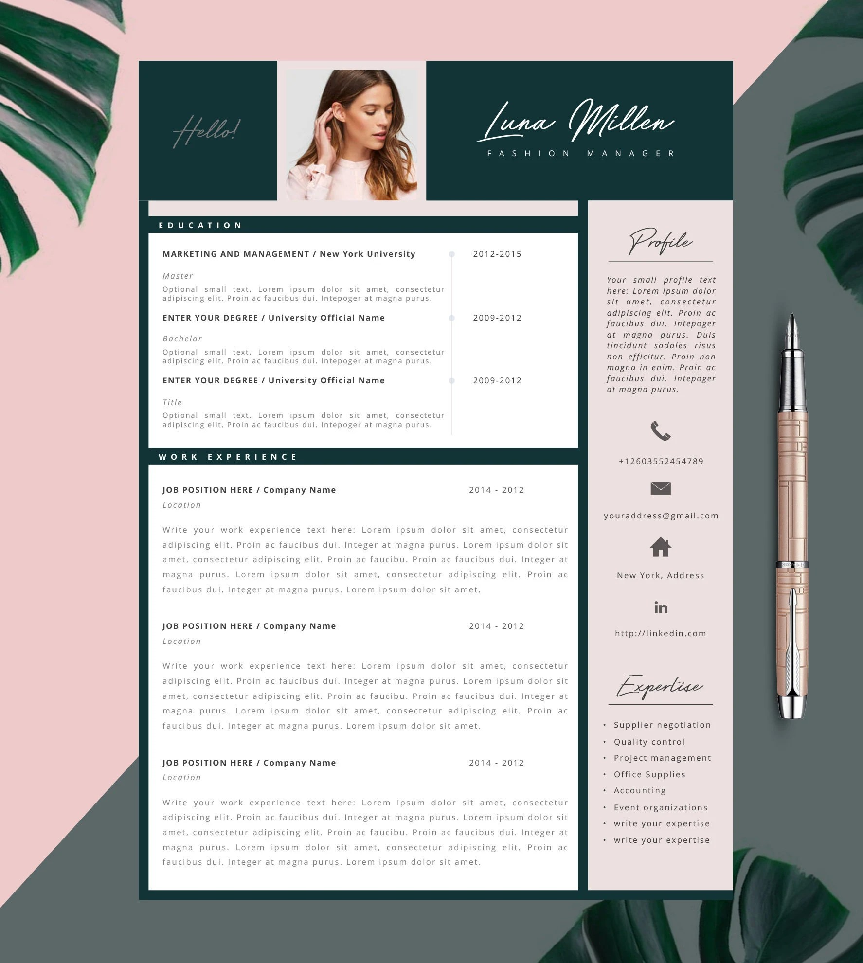 Fashion Resume CV Template Resume Template Creative Resume Etsy