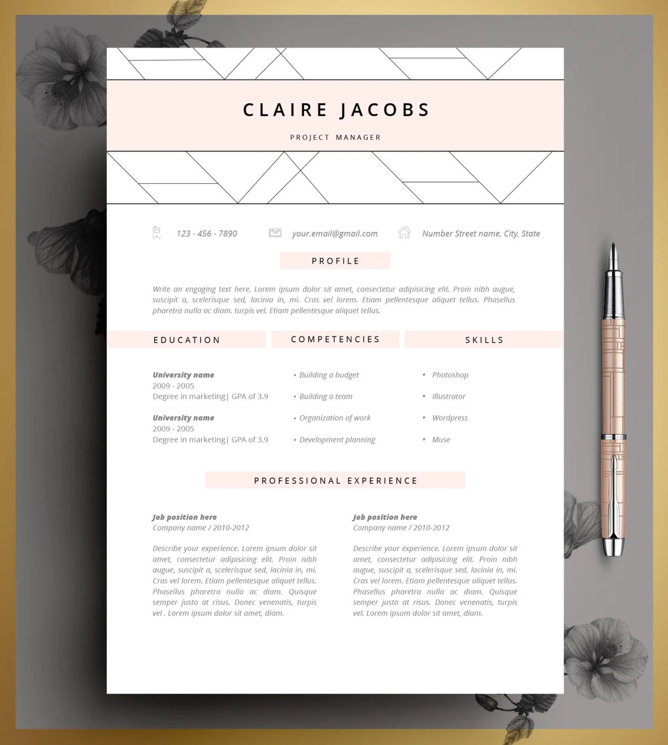 Resume Template CV Template Editable in MS Word and Pages Etsy