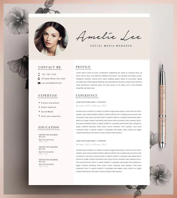 Creative Resume Template CV Template Instant Download Etsy