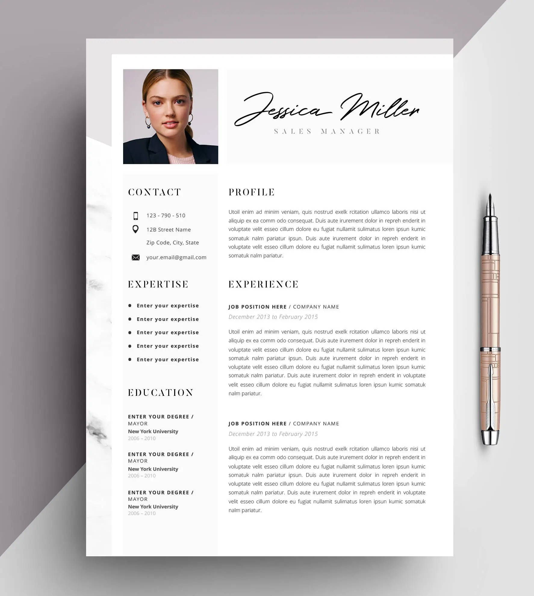Professional Resume Template CV Template Editable in MS Word Etsy