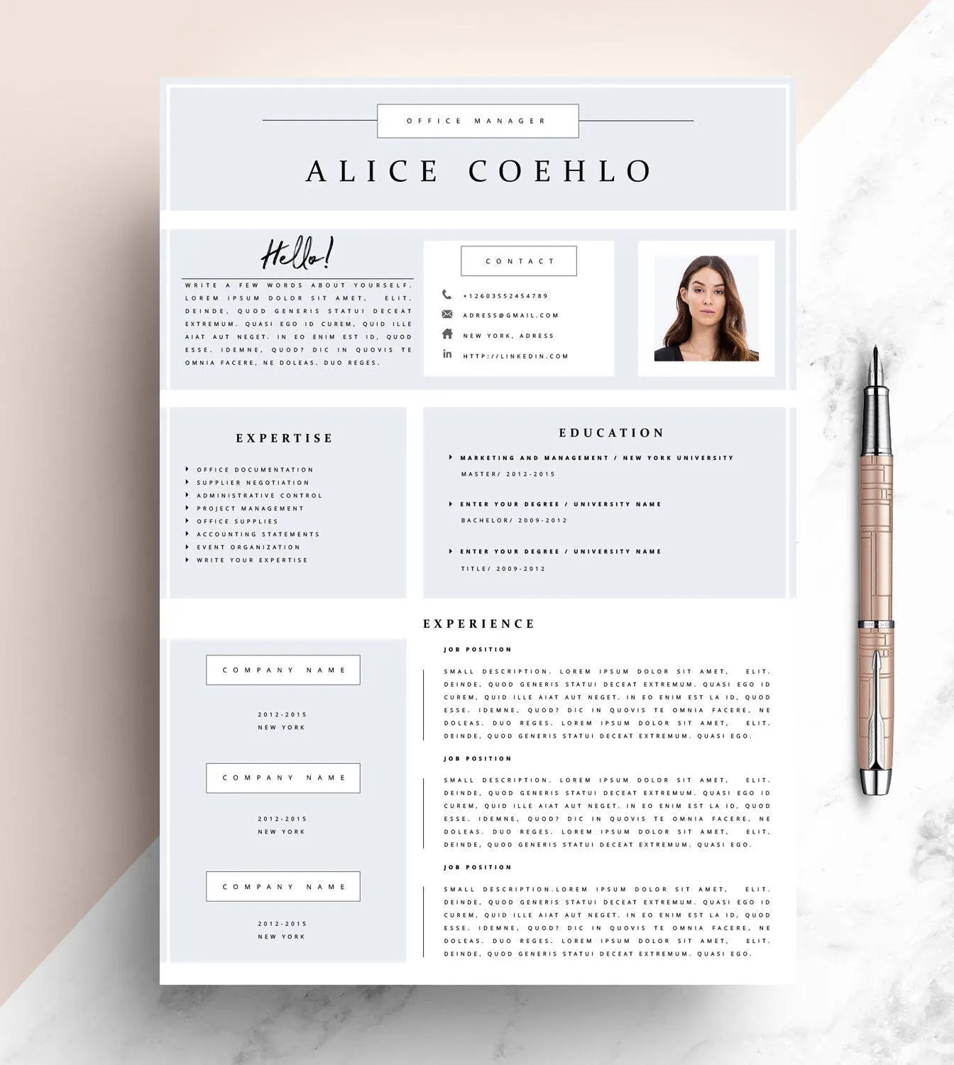 CV Resume Template Word 1 Page Resume Template Modern Etsy