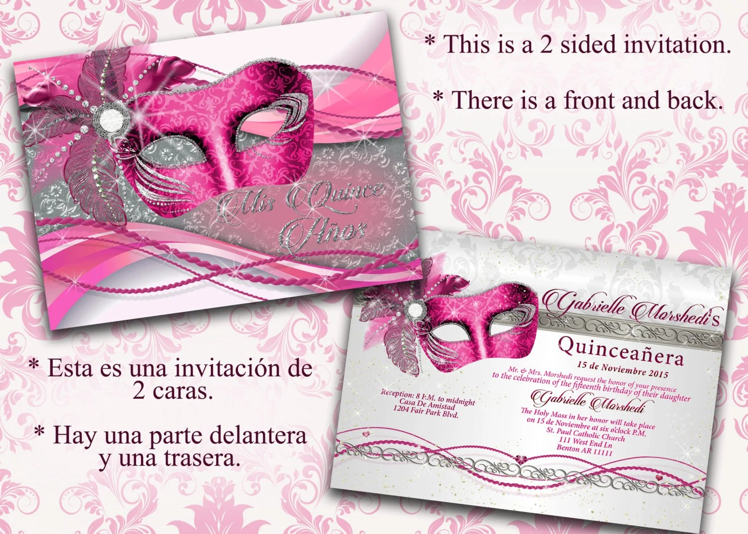 Quinceanera Quinceanera invitations Pink and silver Etsy