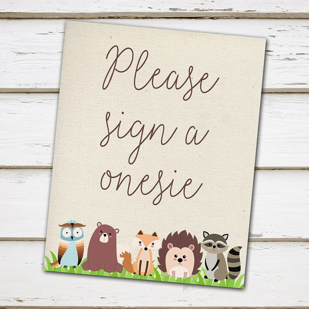 Printable Baby Shower Sign, Please Sign a Onesie, Signatures