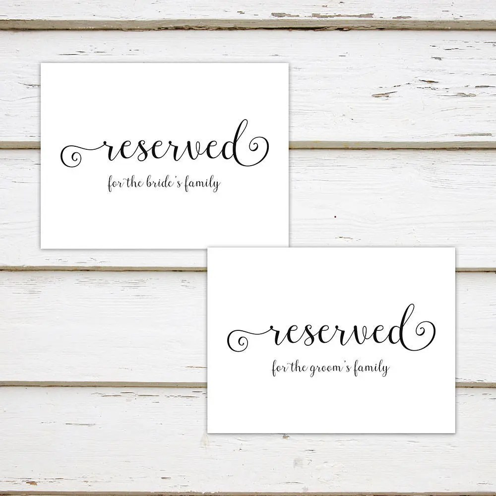 Printable Wedding Reserved Signs, Reserved for Bride\u0027s Family
