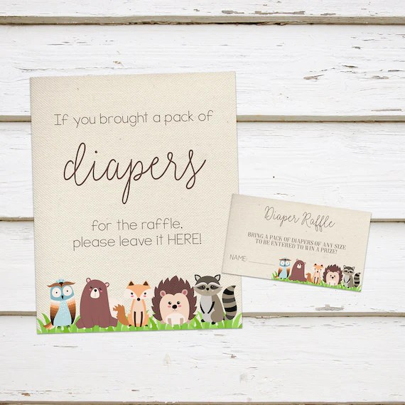 Printable Woodland Baby Shower Diaper Raffle Sign and Ticket