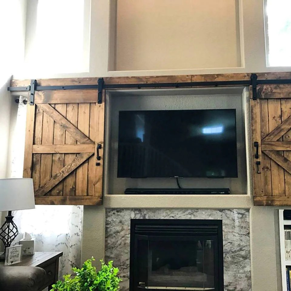 Rustic Walls Interior Tv Hide Barn Door Set Rustic Tv Barn Door Sliding Window