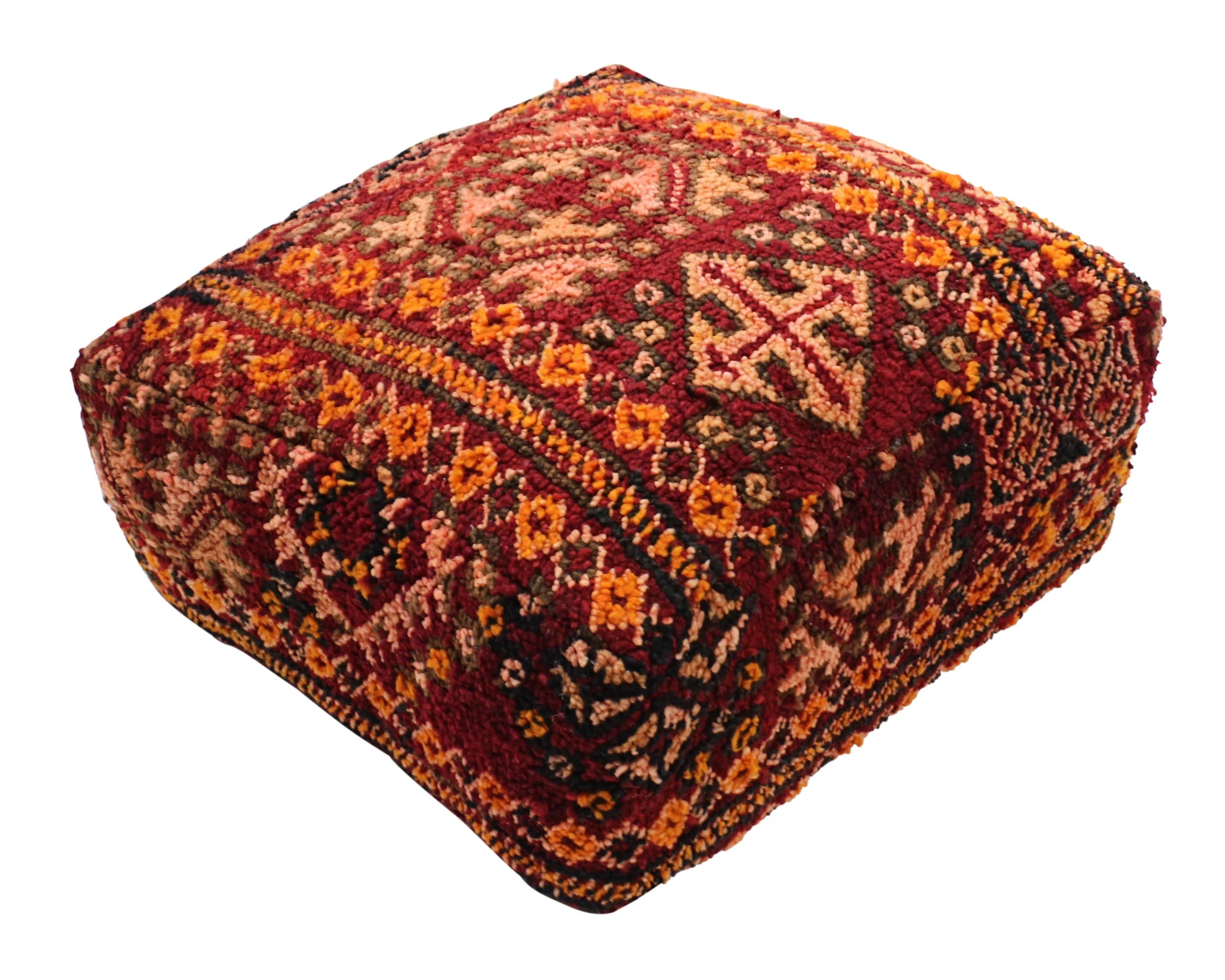 Pouf Xl Moroccan Rug Carpet Pouf Pouffe Footrest Footstool Xl Floor Cushion Pillow Cover Handmade In Morocco 60x60x25cm 24 X24 X10 Kp204