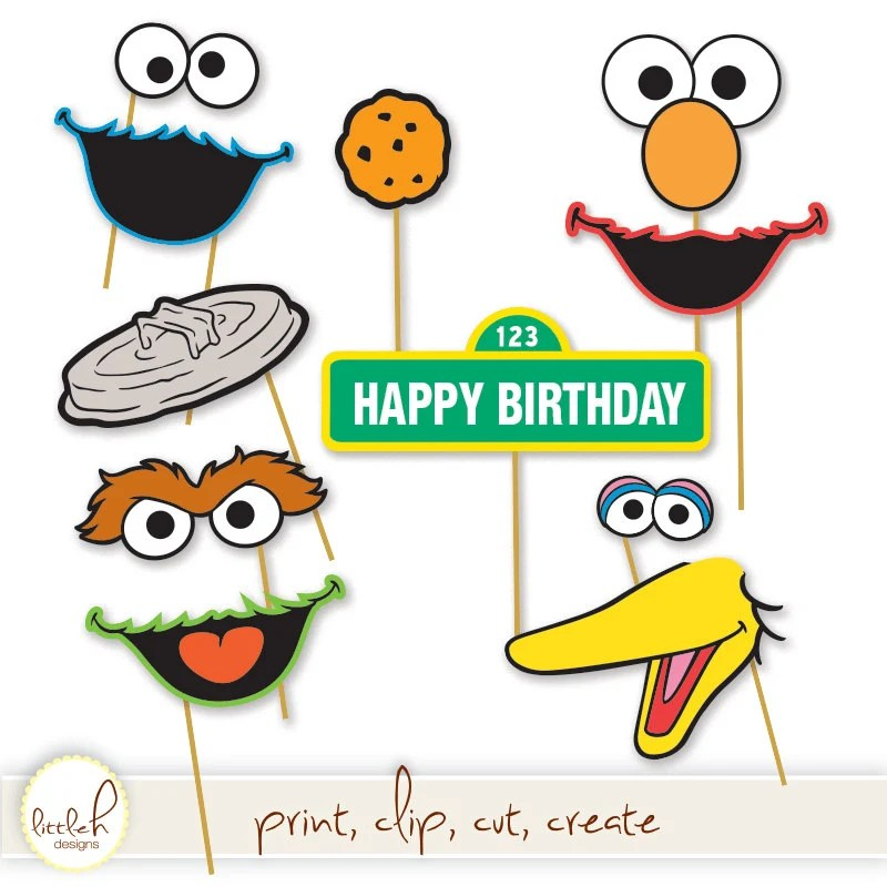 Printable Photo Booth Props Elmo Cookie Monster Oscar the Etsy