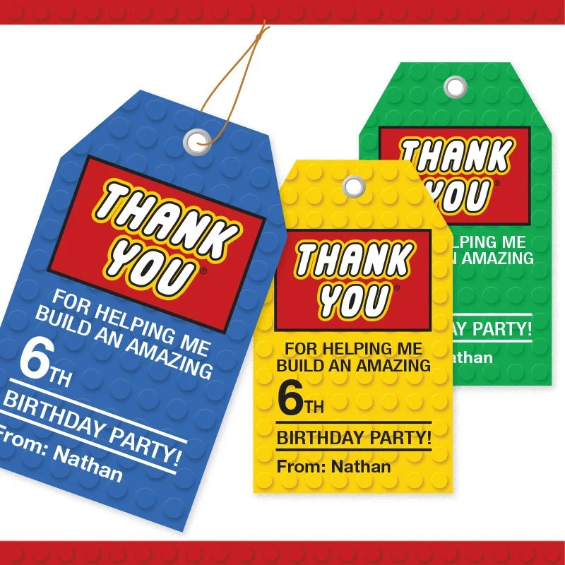 Building Block Thank You Tags 3 Colors / Printable / Gift Etsy