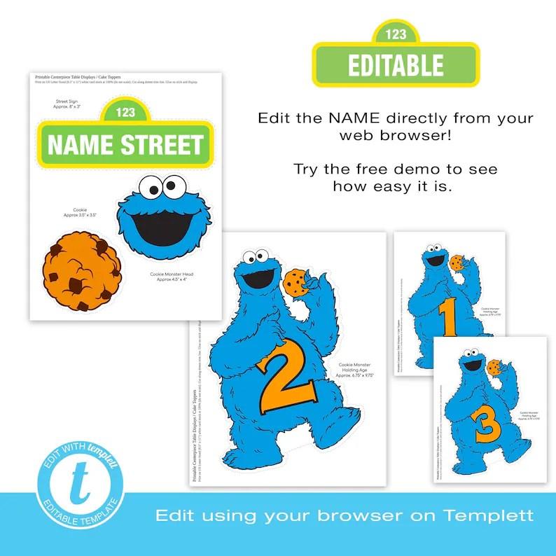Cookie Monster Centerpiece Displays EDITABLE Edit Online Etsy