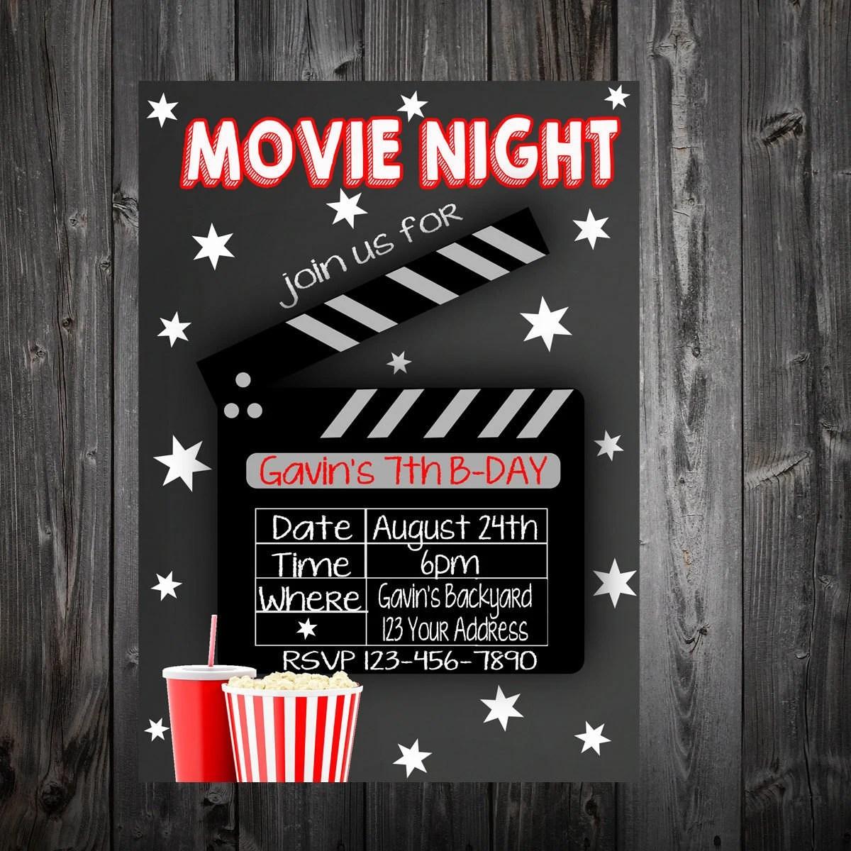 Outside Movie Night Birthday Party Invitation Etsy