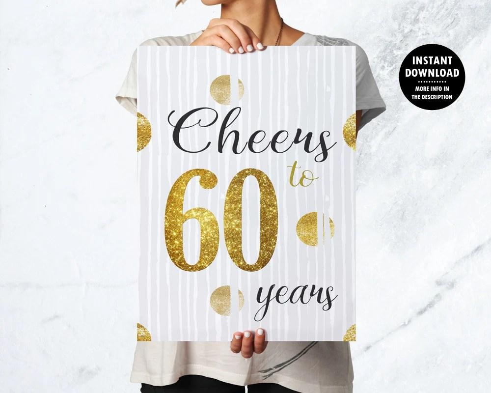 60 Years Birthday Poster, 60 Years Birthday Decor, 60th Birthday