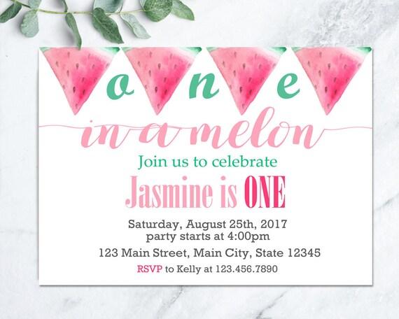 Watermelon Birthday Invitation, Summer Birthday Party Invite, Kids