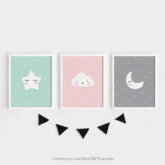 Star Cloud Moon nursery decor Printable Nursery Art Set of 3 Etsy