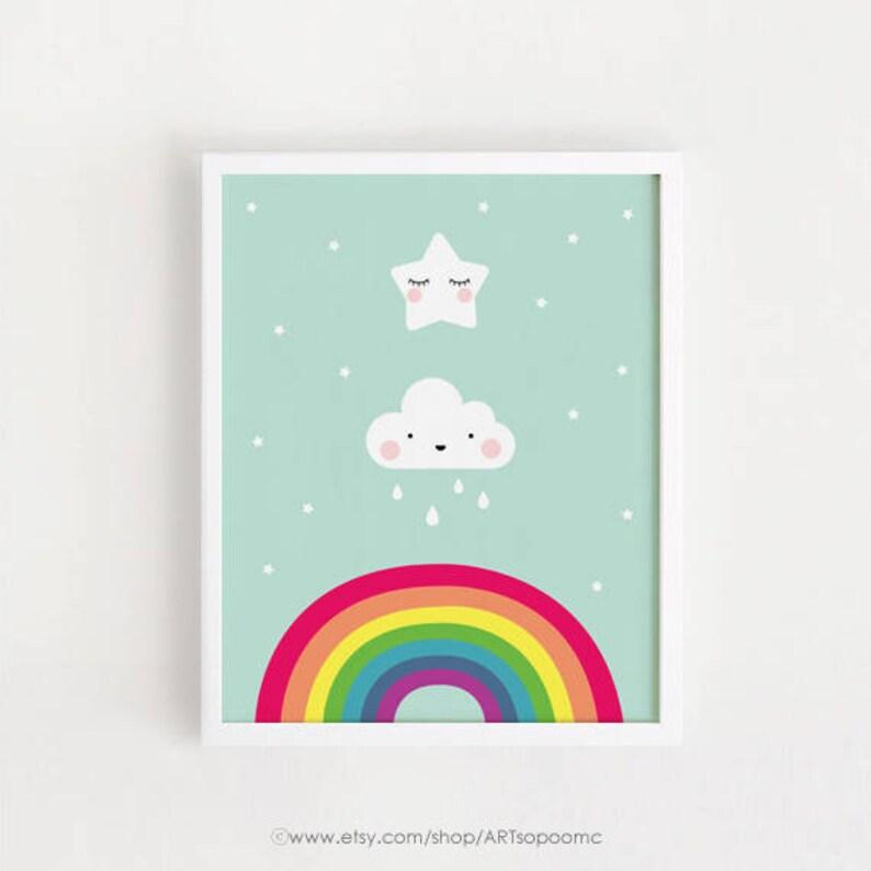 Printable nursery art Star Cloud Rainbow Poster Baby room wall Etsy
