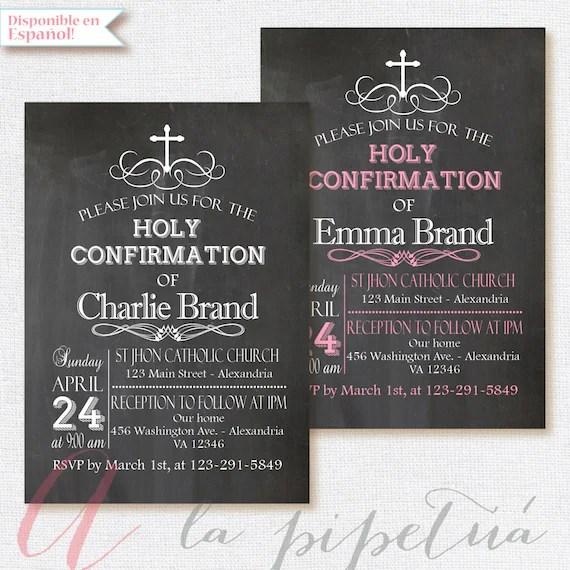 Chalkboard invitation Confirmation Invitation Holy Etsy