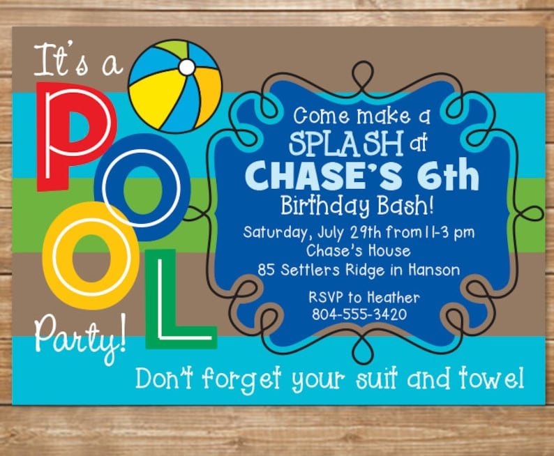 Pool Birthday Party Invitation Boys Swimming Party Water Etsy
