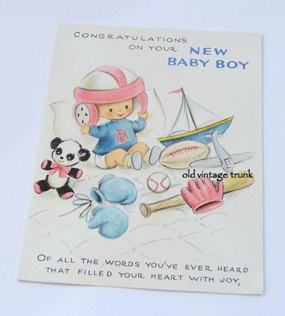 Vintage Congratulations On Your New Baby Boy Card Hallmark Etsy