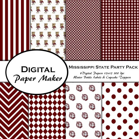 Mississippi State Party Pack to use for scrapbooking clipart Etsy