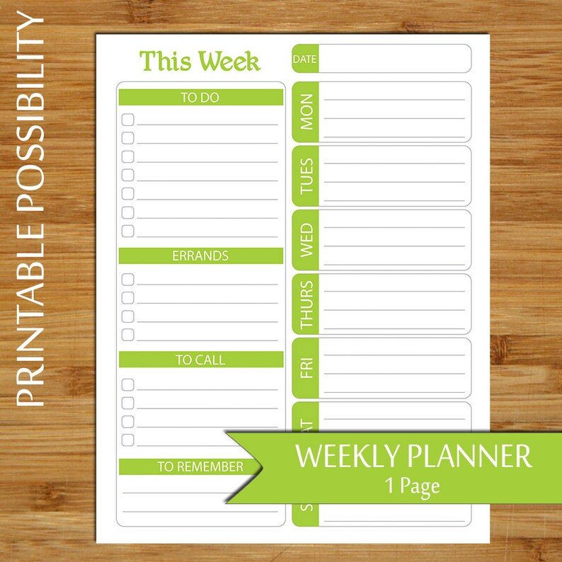 Weekly Plan Lime Green Week at A Glance Planner Printable Etsy