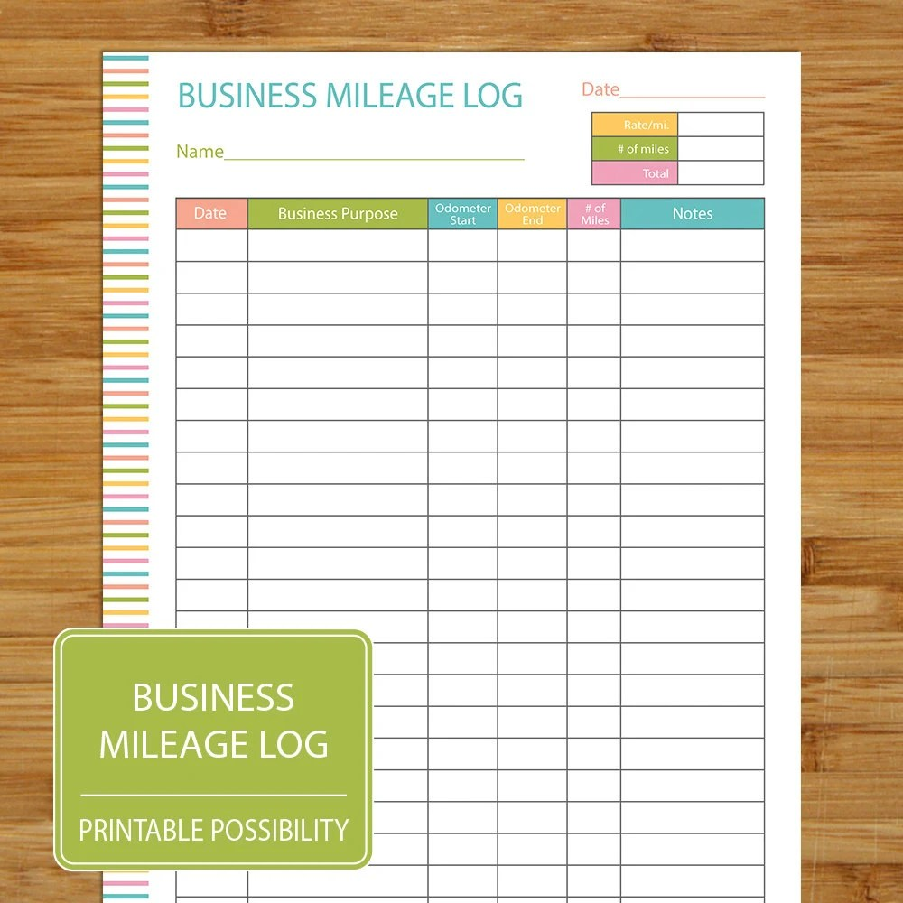 Mileage Log Business Mileage Tracker Coordinates with Etsy