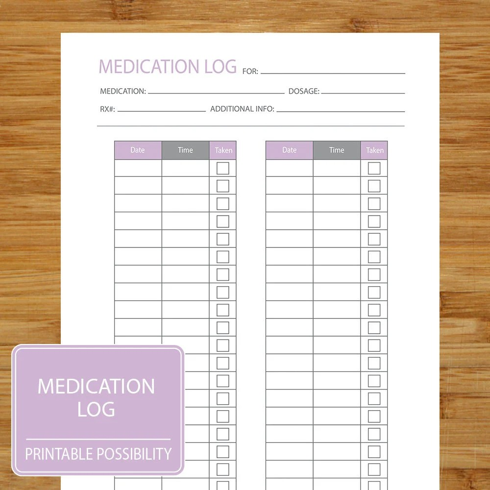 Medication Log Printable Page to track medication dosage