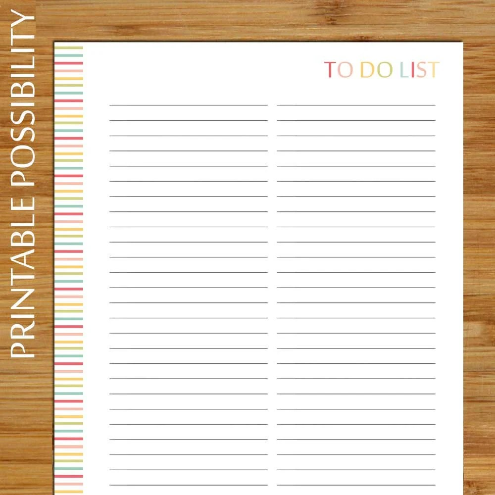 Printable Master To Do List Colorful Overall To Do List for Etsy