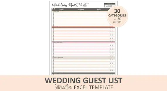 Peachy Wedding Guest List Guest List Printable Excel Etsy