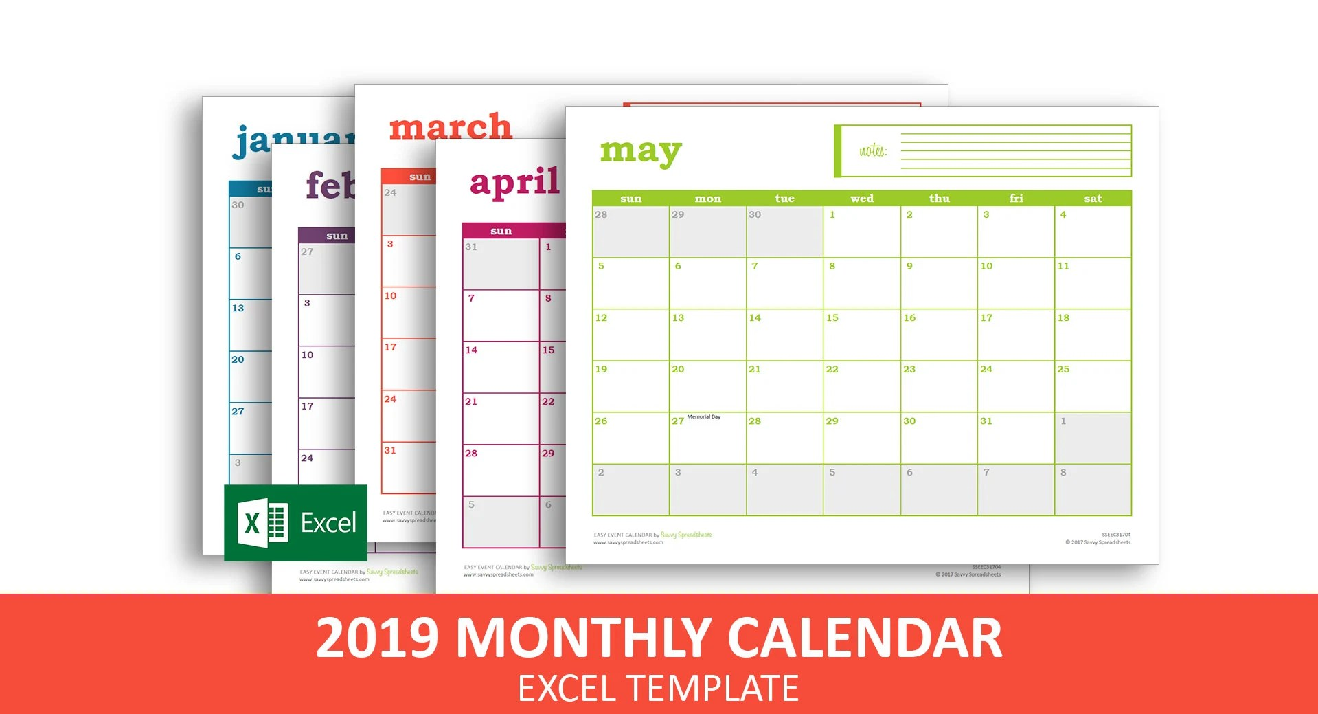 Easy Event Calendar 2019 Excel Template Printable Monthly Etsy