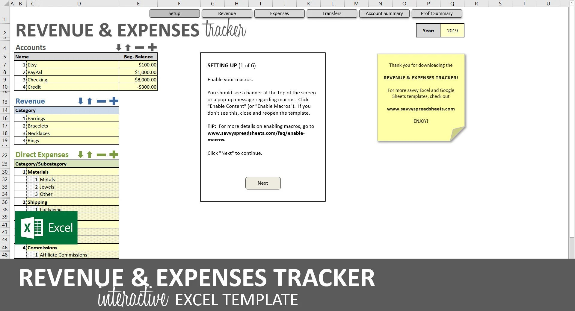 Revenue and Expenses Tracker Excel Template Business Etsy