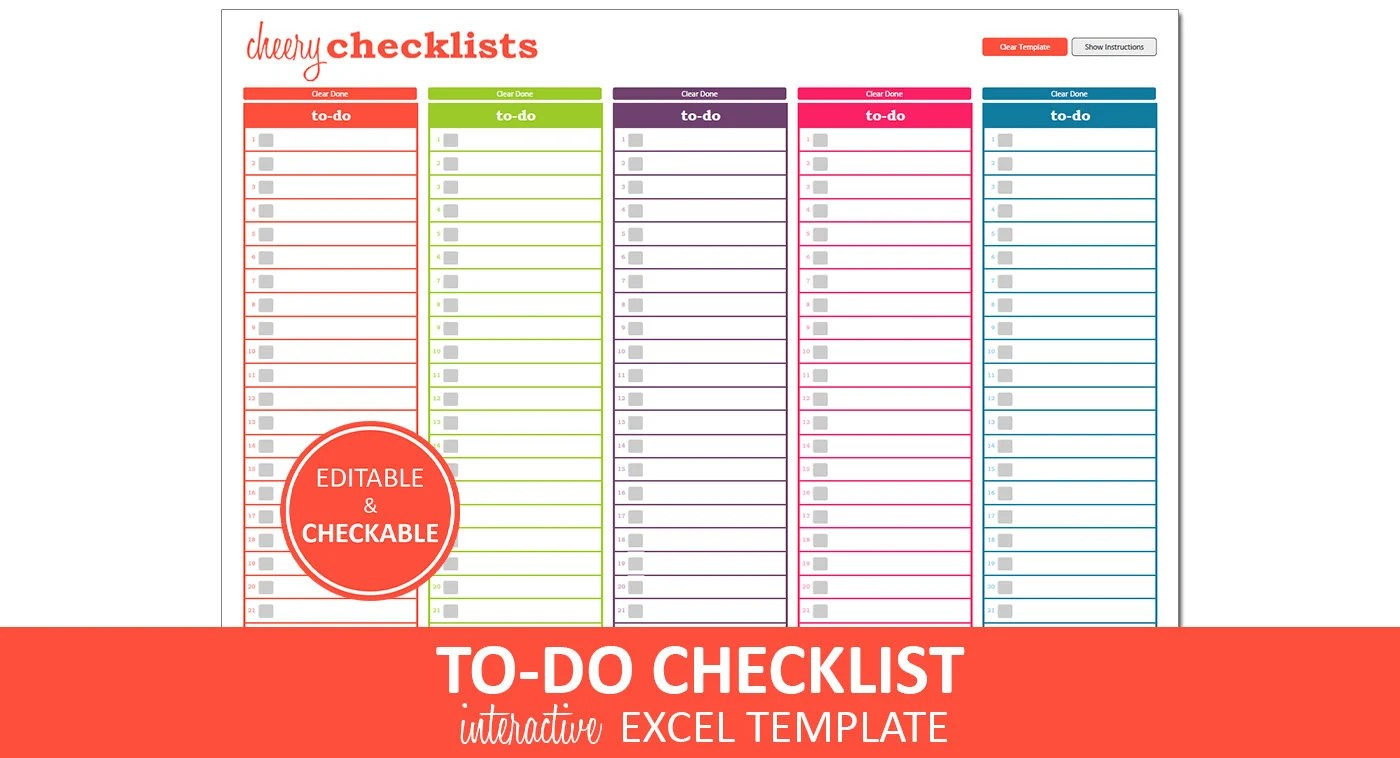 Cheery Checklists To Do List Printable Excel To Do List Etsy