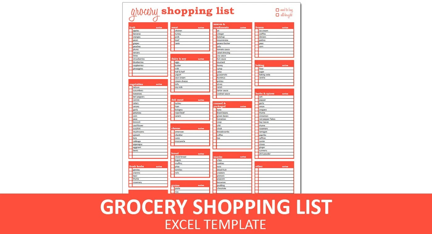 Grocery Shopping List Shopping List Excel Template Printable Etsy