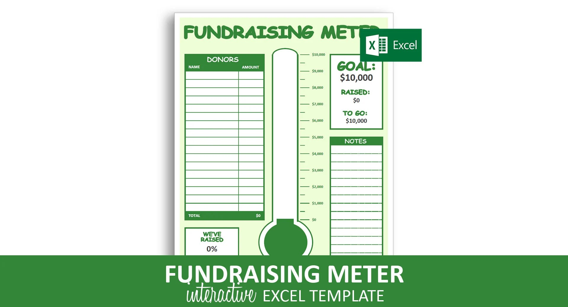 Fundraising Meter Excel Template Donor Tracking List Etsy